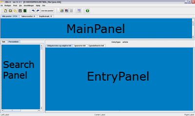 the upper panel is named Main Panel, the lower left panel is named Search Panel and the lower right panel is named Entry Panel.